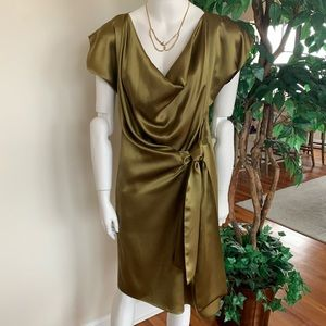 Rush Couture, 100% Silk Dress, Sz M, Chartreuse